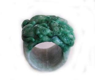 Natural Carved Jadeite Jade Thumb Ring Grade B