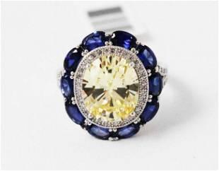 Creation,Diamond/gemstone Ring 22.58Ct 18k W/G Overlay