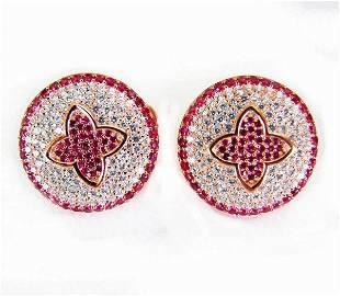 Creation Diamond Ruby EarringS 4.20Ct 18k R/g Overlay