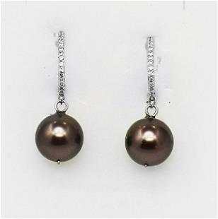 Swarovski Pearl Earrings &Creation, Diamond .25CT 18k
