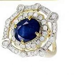 Ring Natural Blue Sapphire Diamond 4.26Ct 14k Y/g