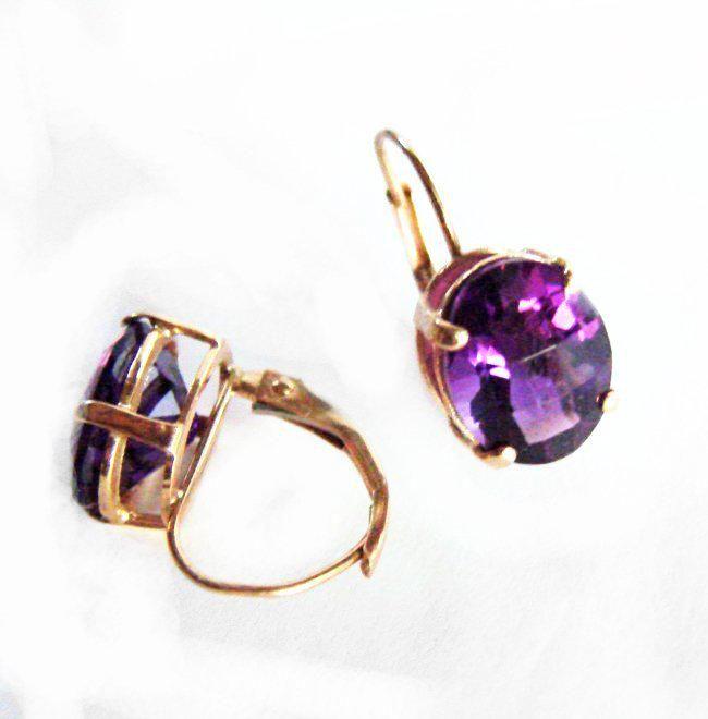Natural Amethyst Oval Drop Earrings 5.70Ct 14k Y/G