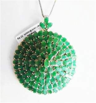 Natural Emerald Pendant/Brooch 52.64Ct 18k W/g Overlay