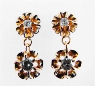 Diamond Flower Dangle Earring .56 Ct 14k Y/G