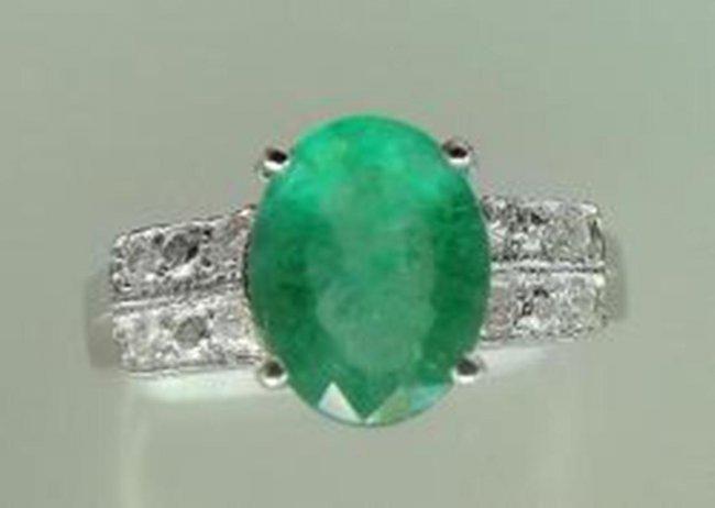 Ring Natural Columbia Emerald Diamond 1.92Ct 14k