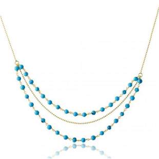 Turquoise Bead Sterling Silver Necklaces 18K Y/G Overla