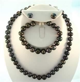 Elegant 6-7mm Black Cultured Pearl Set