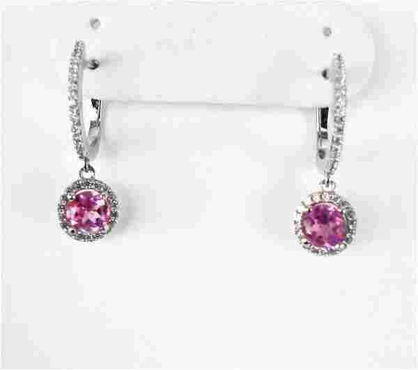 Creation Dia-Pink Topaz Earrings 2.78Ct 18k W/g Overlay
