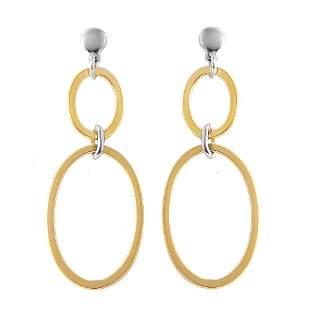 Double Open Oval Shaped Drop Earrings Tow-tone 925