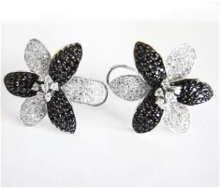 Creation Diamond W-B Earrings 7.98Ct 18k W/g Overlay