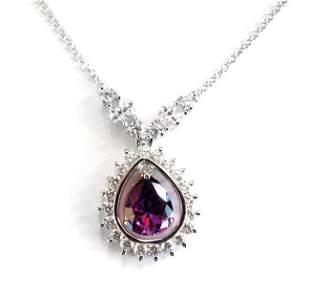 Creation Diamond Amethyst Necklace 6.81Ct 18k W/g Over