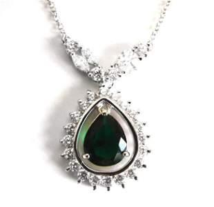 Creation Diamond Tourmaline Necklace 6.81Ct 18kW/g Over