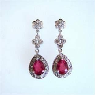 Earrings Dangle Natural Ruby /Diamond 3.59Ct 14k W/g