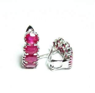 Ruby Earrings 13.12Ct 18k W/g Overlay