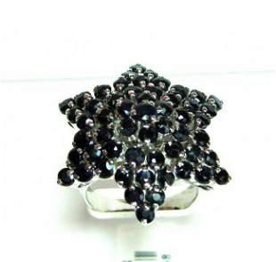 Sapphire Star Ring 4.40Ct 18k W/g Overlay