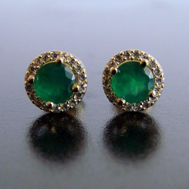 Creation Diamond & Emerald Stud Earring 1.73Ct 18k Y/g