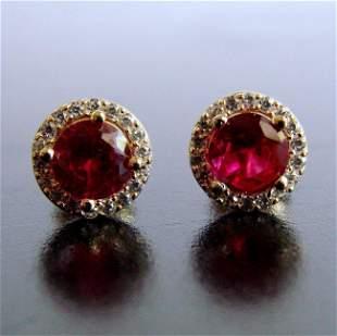 LCreation Diamond & Ruby Stud Earring 2.42Ct 18k Y/g