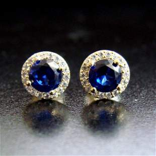Creation Diamond & Sapphire Stud Earring 2.57Ct 18k Y/g