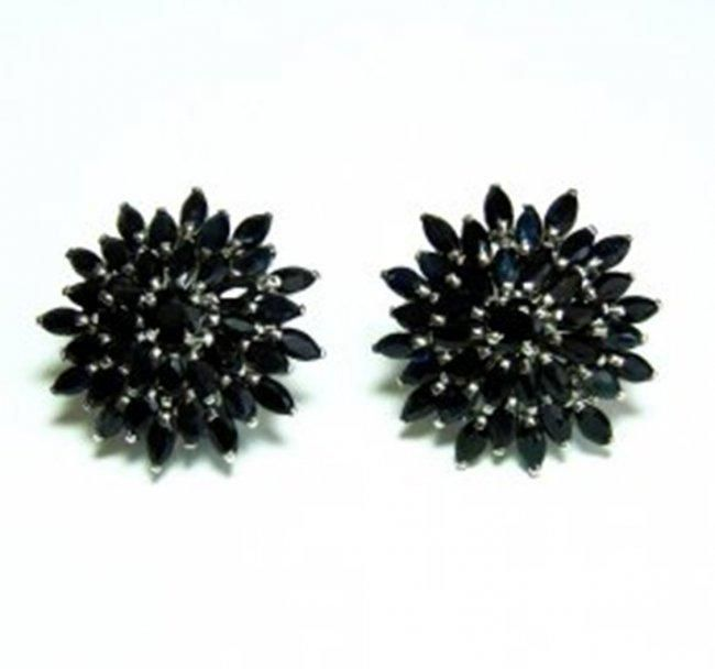 Natural Dark Sapphire Earrings 18.72Ct 18k W/g