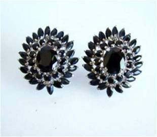 Natural Dark Sapphire Earrings 21.14Ct 18k W/g