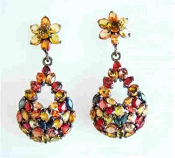 Natural Sapphire Multi Earrings 45.10Ct 18k B/g Overlay