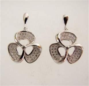 Creation Diamond Flower Earrings .83Ct 18k W/g Overlay