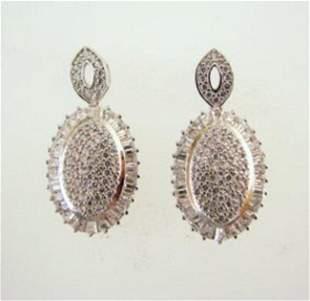 Creation Diamond Oval Earrings 4.28Ct 18k W/g Overlay