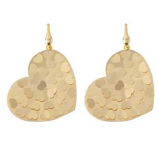 Heart Drop Earrings Sterling Silver 925 18k Y/g Overlay