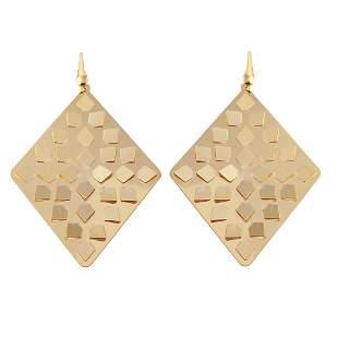 Diamond Shaped Drop Earrings Sterling Silver 925 18kY/g