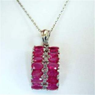 Natural Ruby Creation Dia Pendant 9.58Ct 18k W/G