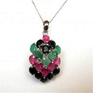 Natural Multicolor Pendant 22.47Ct 18k W/G Overlay