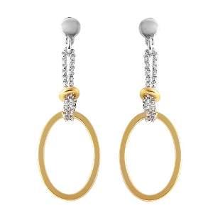Open Oval Shaped Drop Earrings Tow-tone 925 18kY/g