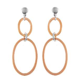 Double Open Oval Shaped Drop Earrings Tow-tone 925 18k