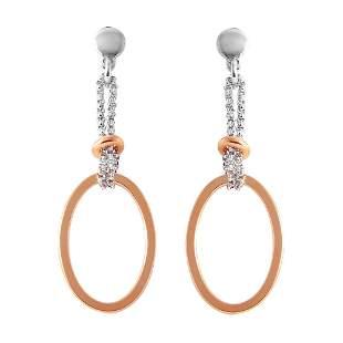Open Oval Shaped Drop Earrings Tow-tone 925 18k R/g