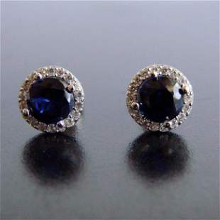 Creation Diamond & Sapphire Stud Earring 2.62Ct 18k W/g