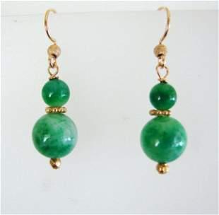 Natural Jade Bead Dangle Earrings 18k Y/g Filled