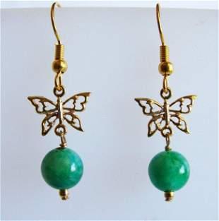 Natural Jade Bead Dangle Earrings 18k Y/g Overlay