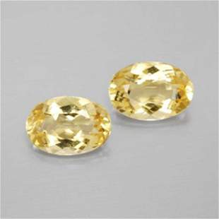 Natural Yellow Glden Beryl Pairs Oval Shape 2.48Ct