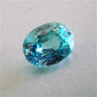 Natural Blue Zircon Oval Cut 2.84 Ct 8.5x7x4.9mm
