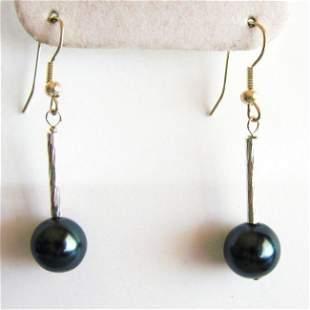 10 mm Swarovski Crystal Pearl Black Color Earrings