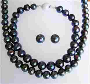 Elegant 7-8 mm Peacock Cultured Pearl Set Grade: AA