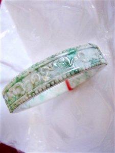 Natural Jadeite Jade Carved Bangle Grade A Size 7.25