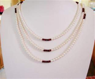 """Culture Pearl Garnet Gold Bead Necklace 5.5mm/72""""inch"""