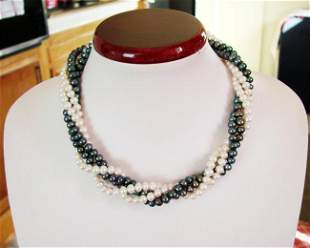 """Culture Pearl Black White Necklace 6mm/36"""" 18k W/g Over"""