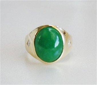 Man's Jade Ring Diamond: .20CT/Jade 9.26CT 18K Y/G