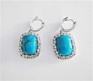 Drop Turquoise Earrings 12 mm 18k W/g Overlay