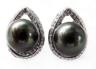 13mm Tahitian Pearl Diamond Earring 1.00Ct 18kW/g
