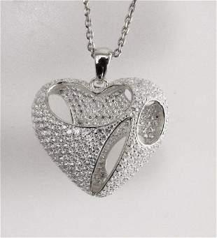 Creation Diamond Heart Pendant 2.40Ct 18k W/g Overlay