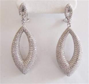 Creation Diamond Chandeliers Ear 5.90Ct 18k W/g Overlay