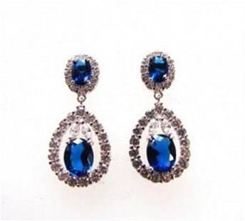 Creation Diamond/Blue Sapphire Earrings 11.76Ct